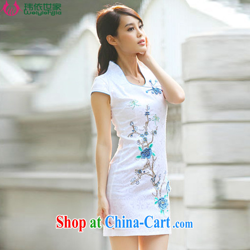 According to Wei family 2015 spring and summer with new improved Chinese elegant qipao Stylish Girl blue XL