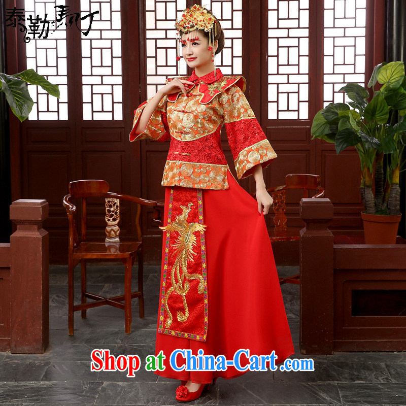 Bridal wedding dress toast serving Chinese style wedding dresses antique show reel service use phoenix married Yi hi clothing costumes red XXL
