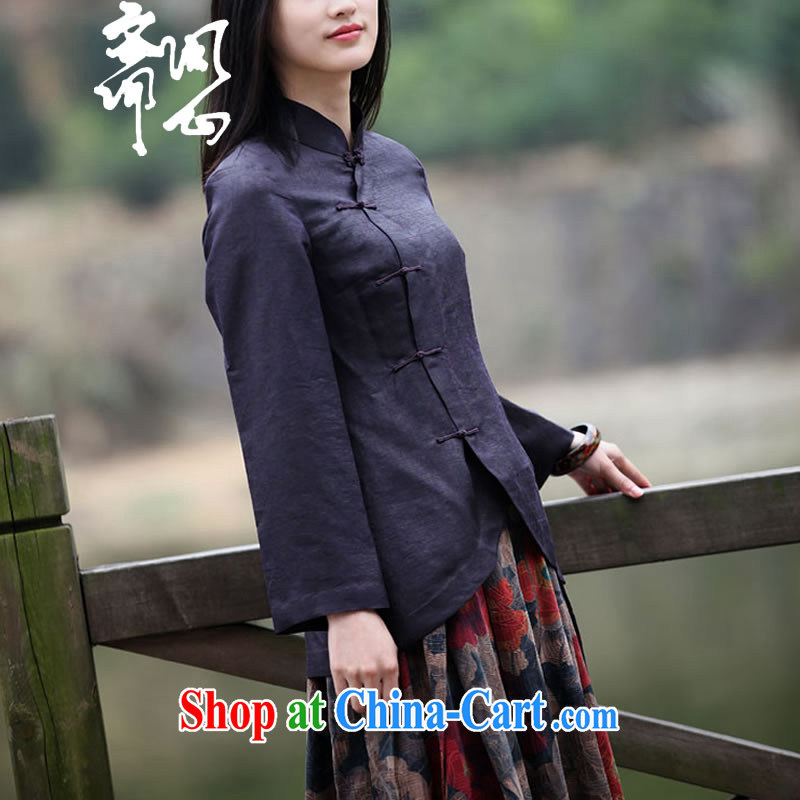 Asked about Ramadan and the Hyatt heart health female spring and summer new Chinese Traditional boutique T-shirt is estimated by the buckle and collar T-shirt 1878 Uganda reduces package size to black and purple L