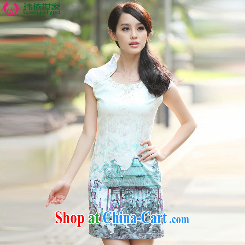According to Wei family 2015 spring and summer with new stylish cultivating improved retro short dresses cheongsam girls Indigo color XL