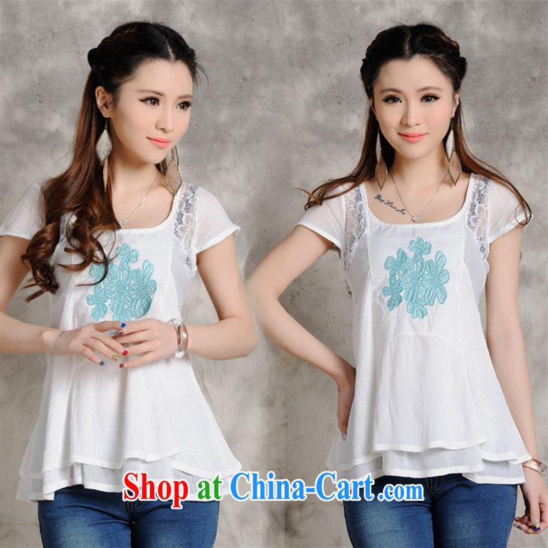 Black butterfly store XS 8223 original ethnic wind summer ladies round neck T-shirt embroidered spell lace flouncing short-sleeved snow woven shirts female white XXL
