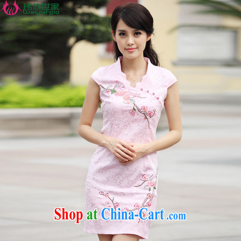 According to Wei family 2015 spring and summer with new stylish short retro stamp beauty dresses cheongsam girls pink XL