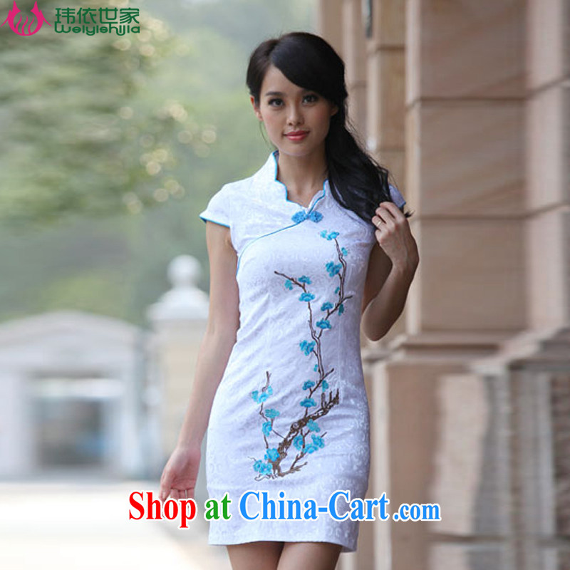 According to Wei family 2015 spring and summer with new landscaping embroidery stylish sexy retro dresses cheongsam girls blue XL