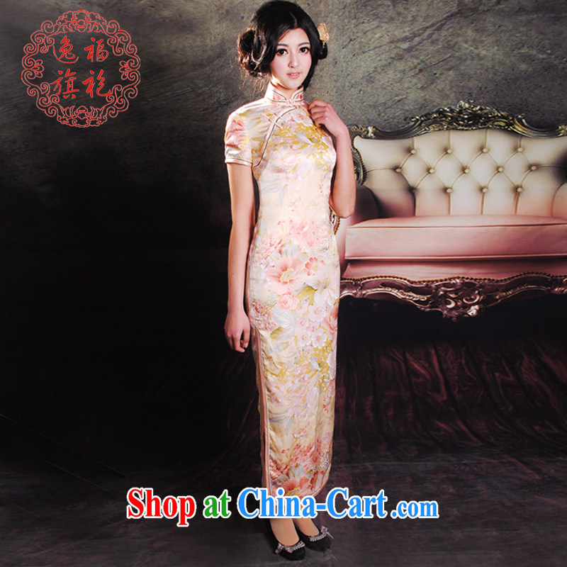 once and for all, summer dresses New Silk Cheongsam floral short-sleeved dresses long retro advanced custom bows dress suit service tailored 10 day shipping