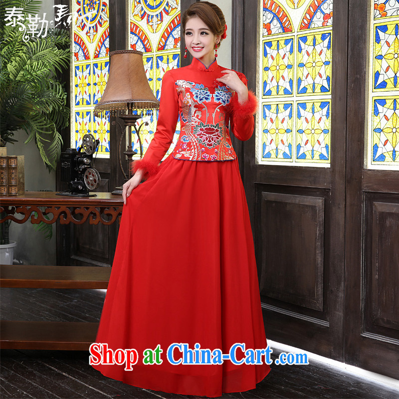Spring bridal wedding dress improved China wind folder cotton robes long Chinese wedding red bows service female Red XXL