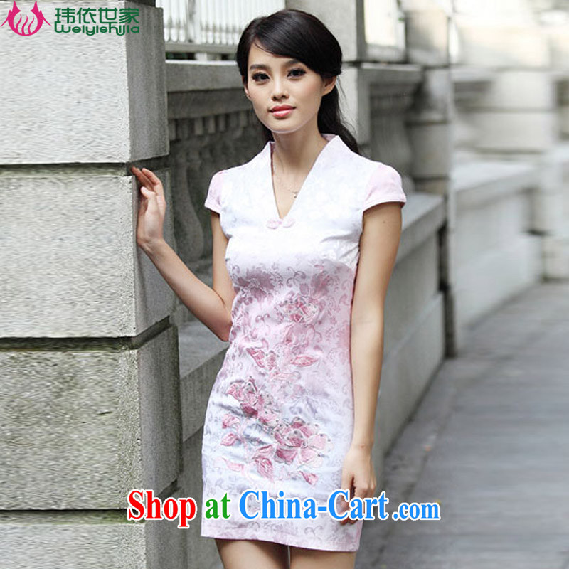 According to Wei family 2015 spring and summer with new lace improved Stylish retro dresses cheongsam girls pink XL
