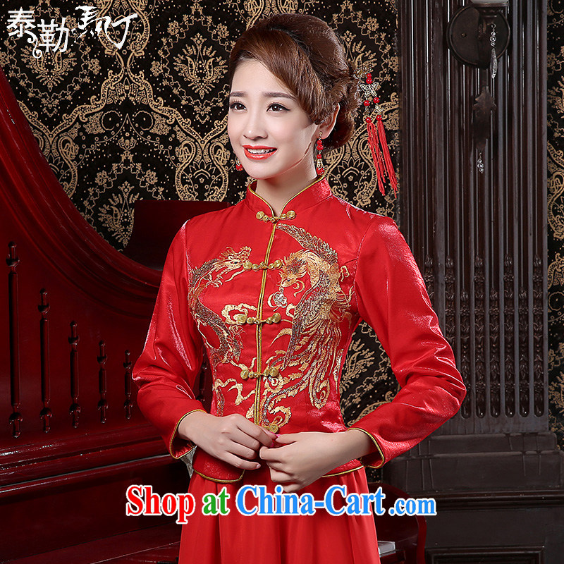 Bridal wedding dress Phoenix retro long cheongsam quilted red toast serving women 2015 new spring red XXL