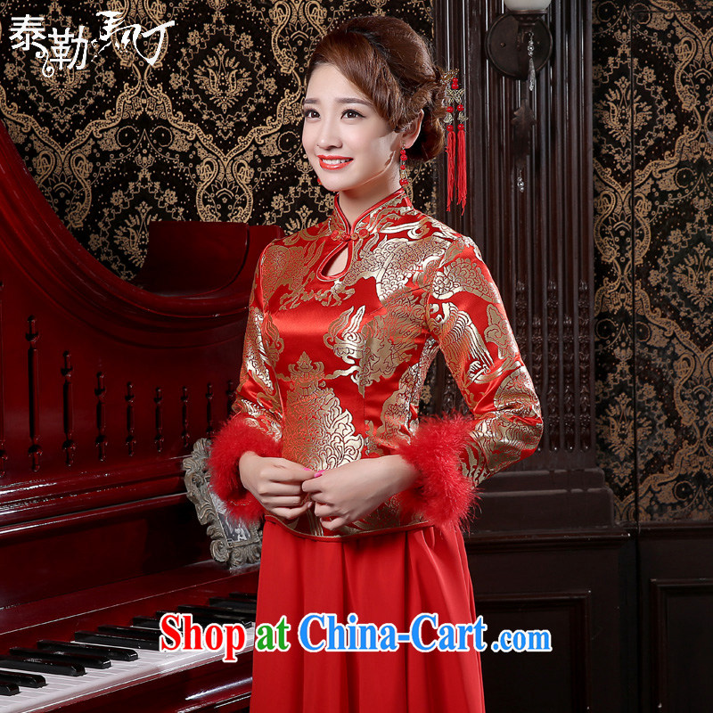 Taylor Martin new spring bridal wedding dresses Chinese Brocade improved package dresses and cotton bows Kit red XXL