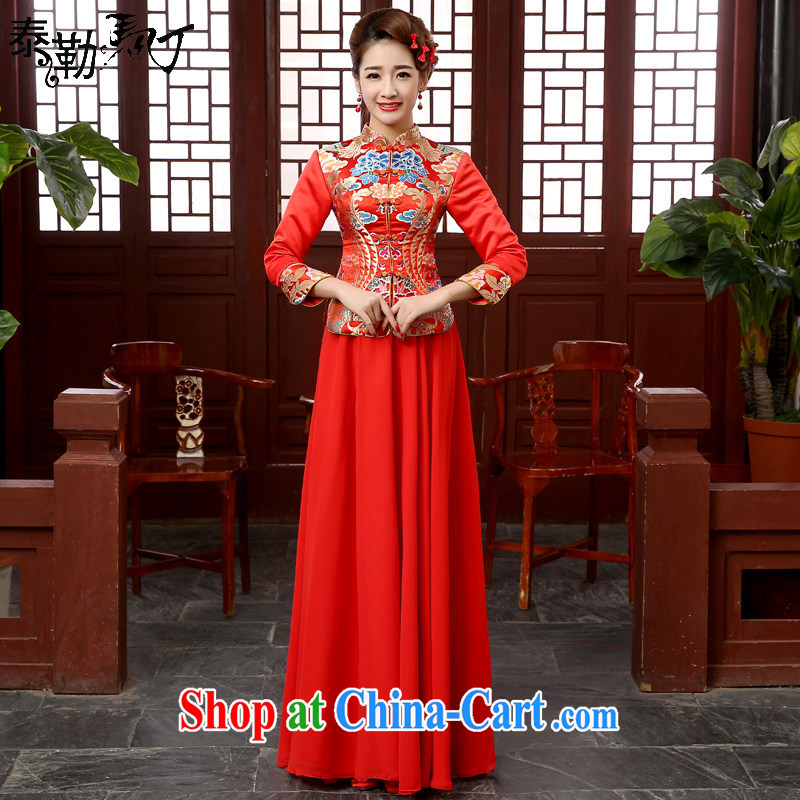 2015 new cheongsam dress spring loaded retro improved long-sleeved quilted red bridal toast dress Chinese married Yi red XXL