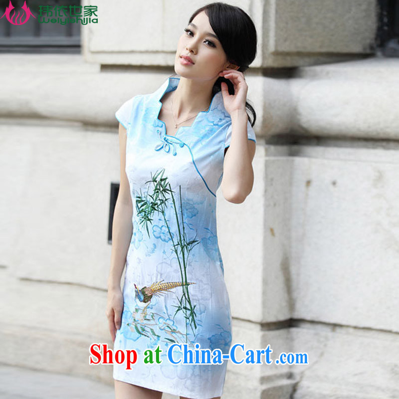 According to Wei family 2015 spring and summer with new short-sleeved retro flag stylish dresses cheongsam dress female blue XL