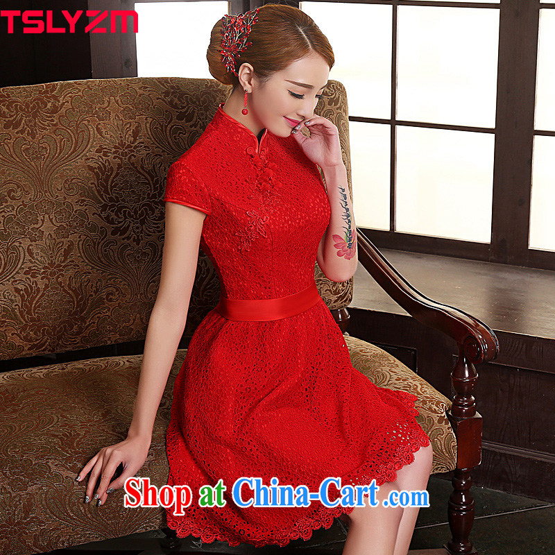 Tslyzm bridal improved cheongsam dress lace short bows, serving 2015 new spring and summer cultivating Chinese China wind wedding dress red M