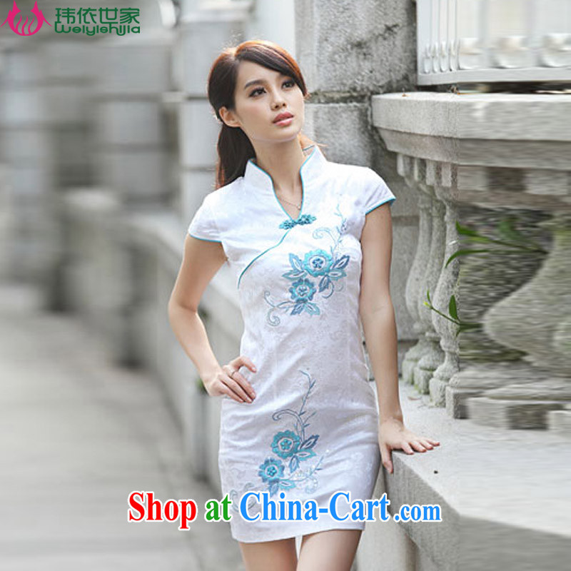 According to Wei family 2015 spring and summer new beauty, short-sleeved Stylish retro dresses cheongsam girls blue XL
