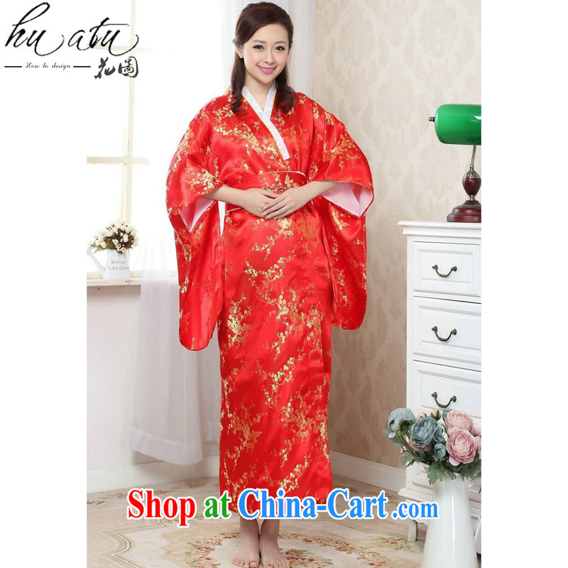 Take the kimono Chinese improved female new Chinese qipao long damask stamp retro national stage costumes - C red are code