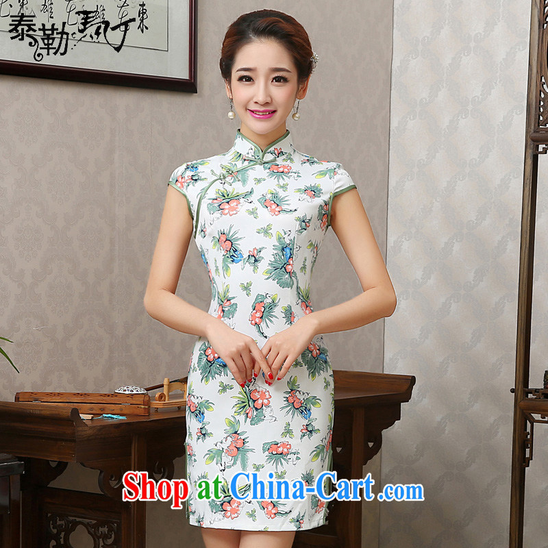2015 New floral beauty package and short cheongsam dress daily improved arts the cheongsam street girls spring and summer white XXL