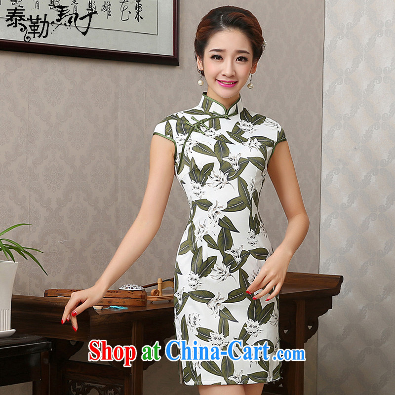 2015 spring jacquard cotton stamp daily short cheongsam improved retro elegant beauty short sleeve cheongsam dress female white XXL