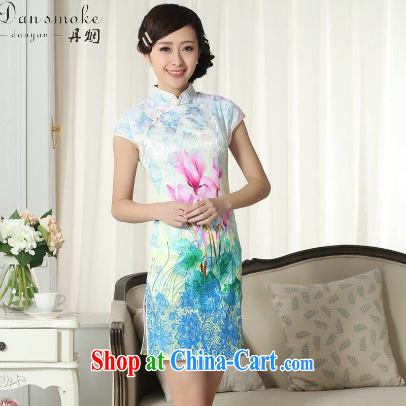 Dan smoke new summer dresses Tang Women's clothes improved elegance Chinese qipao, for Chinese Video thin short cheongsam as color 2XL