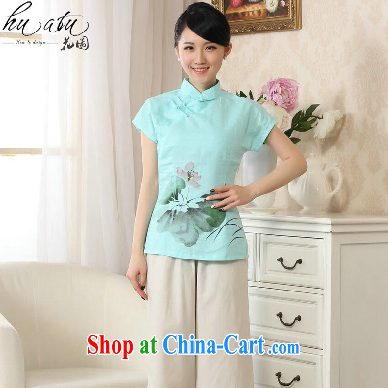 Take the new girl with hand-painted dresses T-shirt cotton the Chinese Ethnic Wind female Tang is improved, for literary and artistic T-shirt - C sky 2 XL