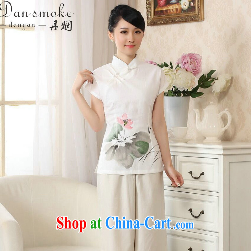 Bin Laden smoke new women with hand-painted dresses T-shirt cotton the Chinese Ethnic Wind female Tang is improved, for literary and artistic T-shirt white 2XL