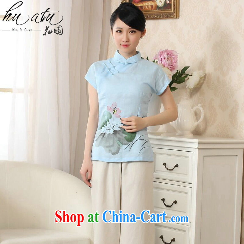 spend the summer with new Tang Women's clothes hand-painted robes arts cotton the Chinese Ethnic Wind Tang is improved, collared T-shirt - light blue A S