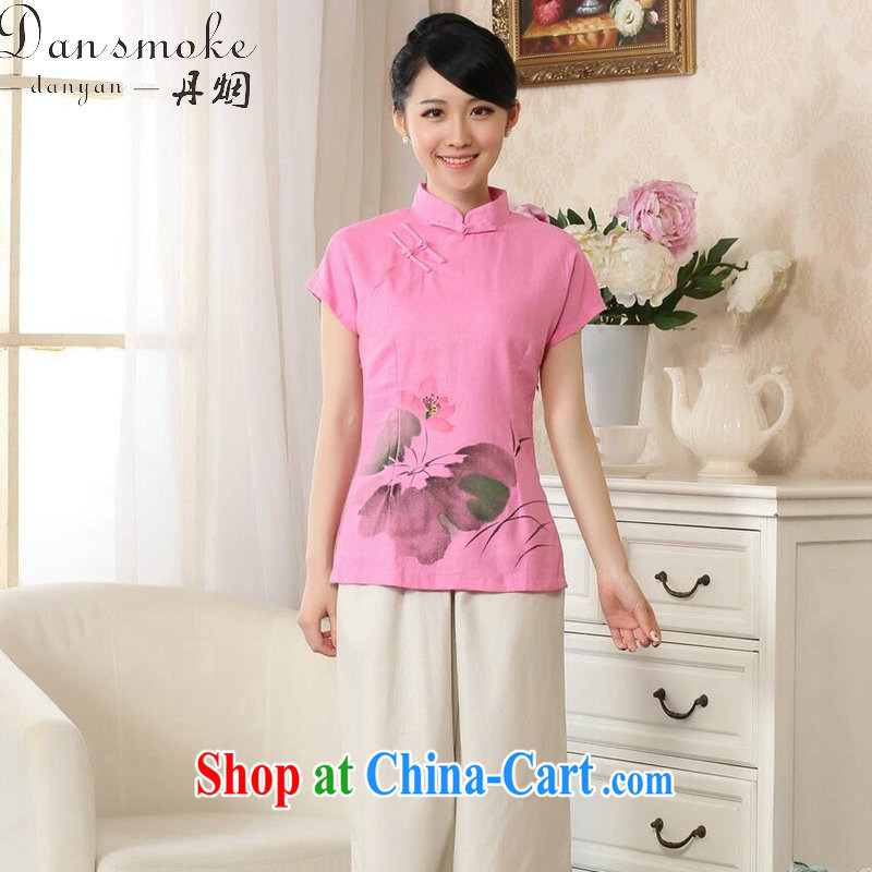 Bin Laden smoke summer New Tang Women's clothes hand-painted robes arts cotton the Chinese Ethnic Wind Tang is improved, collared T-shirt - B pink 2 XL