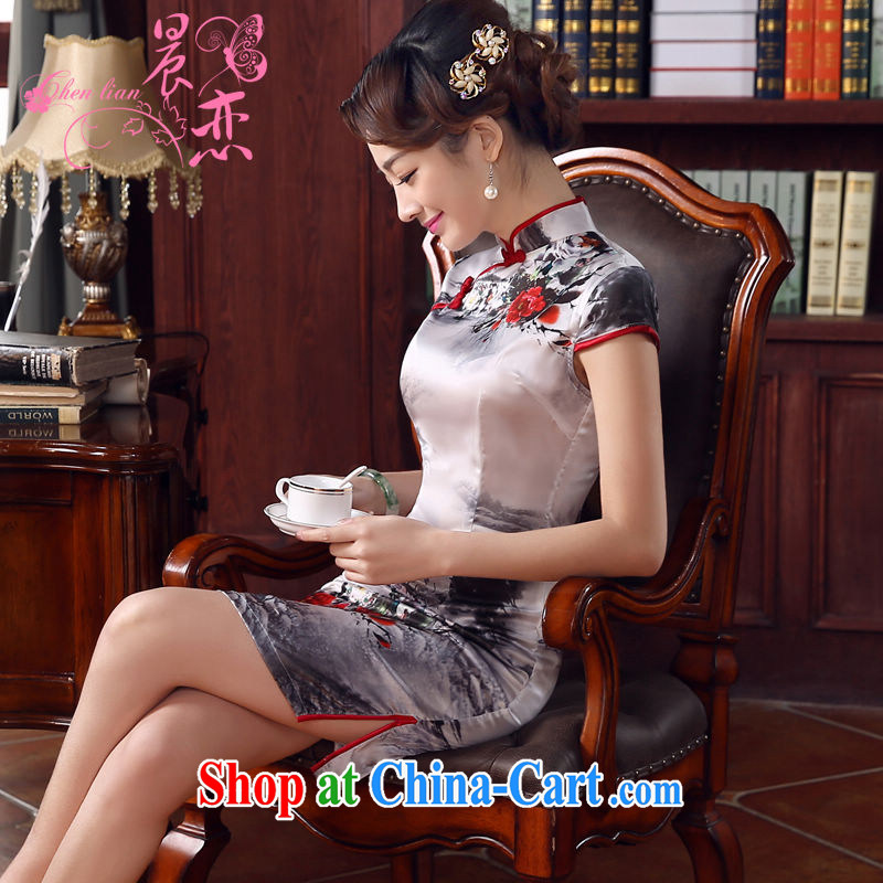 Morning, dresses new 2015 summer retro short improved stylish sauna silk silk Chinese qipao ink light gray M