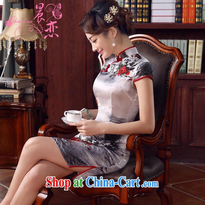 Morning, dresses new 2015 summer retro short improved stylish sauna silk silk Chinese qipao ink light gray M