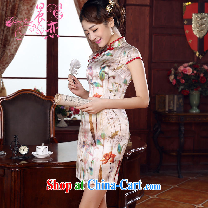 Morning dresses, new 2015 summer retro short improved stylish sauna silk silk Chinese qipao fresh floral XXL