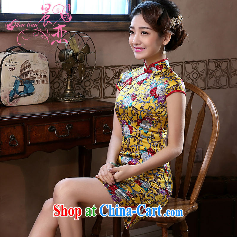 Morning, dresses new 2015 summer retro short improved stylish sauna silk silk Chinese qipao luxury yellow 155/S