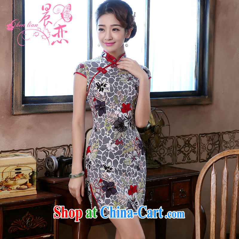 Morning love 2015 summer new stylish improved retro short cotton the cheongsam dress Chinese daily take chestnut gray XXL