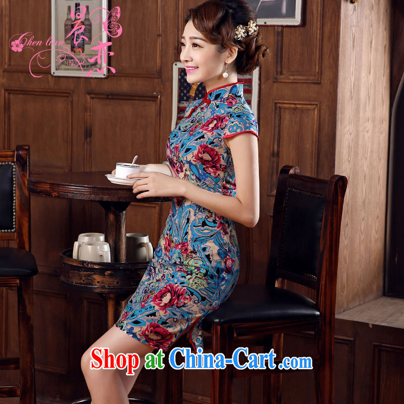 Morning love 2015 summer new stylish improved retro short cheongsam dress Chinese daily cotton the cheongsam blue XXL