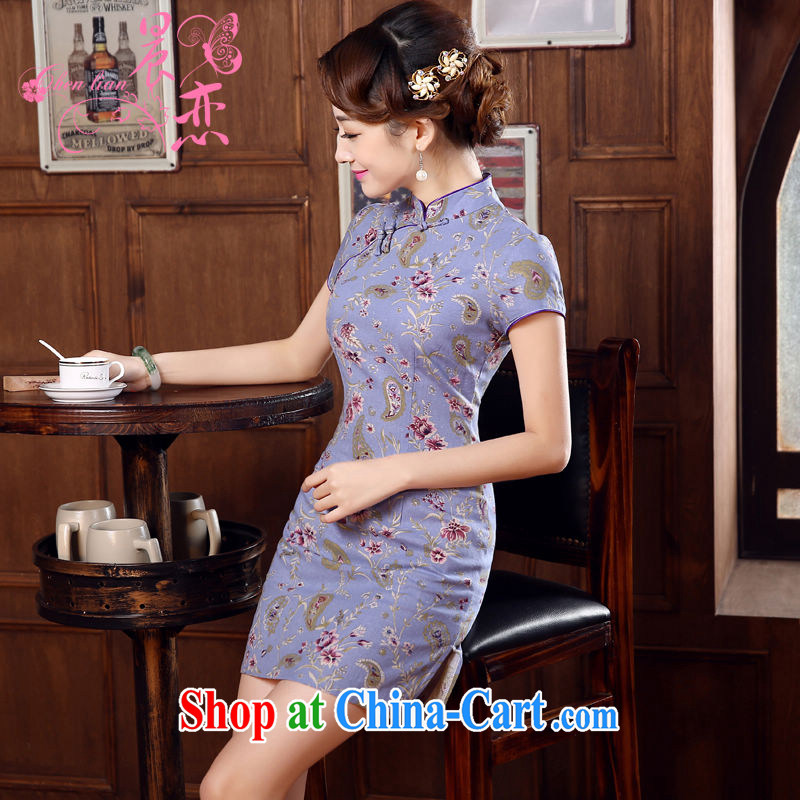 Morning love 2015 summer new stylish improved retro short cotton the cheongsam dress Chinese daily fall-color light purple 155_S