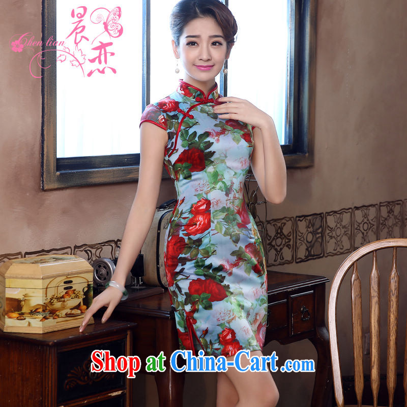 Morning, dresses new 2015 summer retro short improved stylish sauna silk silk Chinese qipao rose green XXL