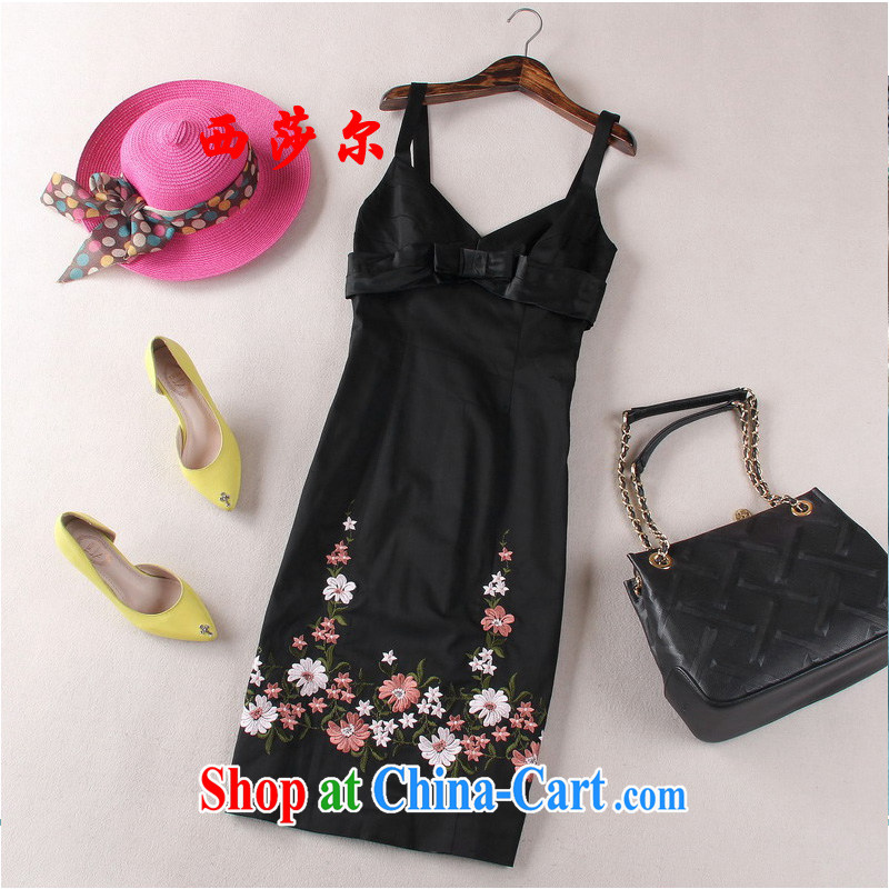 Europe 2015 new stylish embroidered beauty dresses bow-tie style vest dress straps skirt black 8