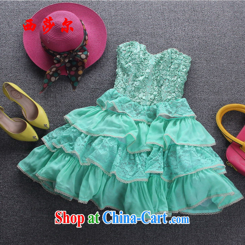 2015 lace stitching layers cake shaggy dress sweet wrapped chest small dress skirt Princess skirt color picture 6