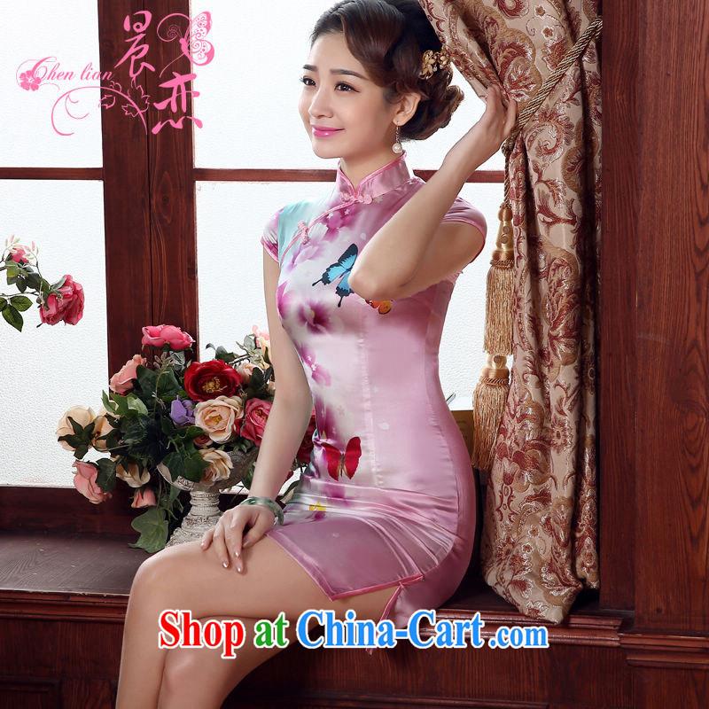 Morning, dresses new 2015 summer retro short improved stylish sauna silk silk Chinese qipao flower butterfly pink XL