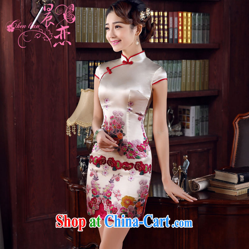 Morning, dresses new 2015 summer retro short improved stylish sauna silk silk Chinese qipao blooming red XXL