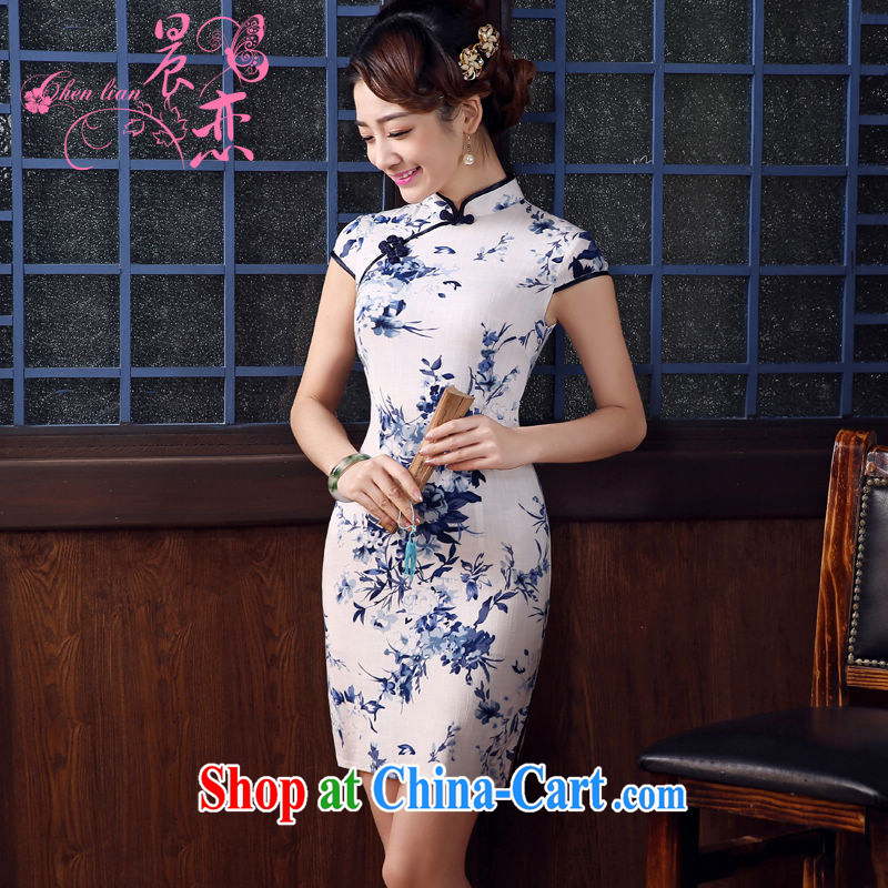Morning love 2015 summer new stylish improved retro short cheongsam dress Chinese daily cotton the blue and white porcelain white L