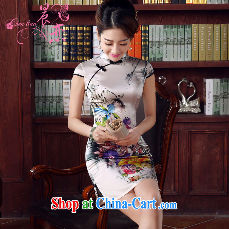 Morning, dresses new 2015 summer retro short, improved stylish sauna silk silk Chinese qipao flower lovers light gray M