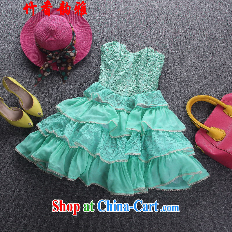 Bamboo incense were 2015 lace stitching layers cake shaggy dress sweet wrapped chest small dress skirt Princess skirt color picture 6