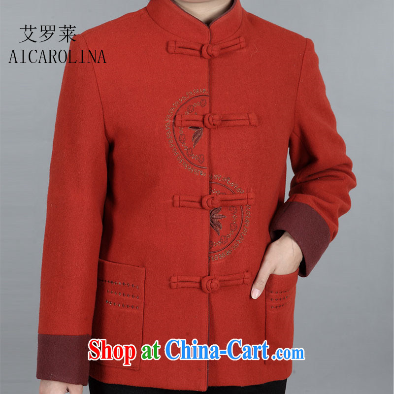 The Luo in older mothers with middle-aged female Tang load fall Ms. gross load so long-sleeved jacket red-orange XXXL
