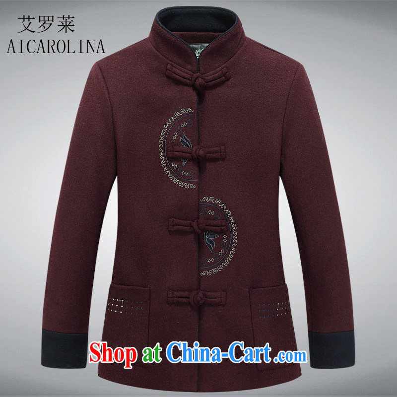 The Spring and Autumn Period, female hair? jacket middle-aged short temperament, mother with a solid color that the T-shirt wine red XXXL