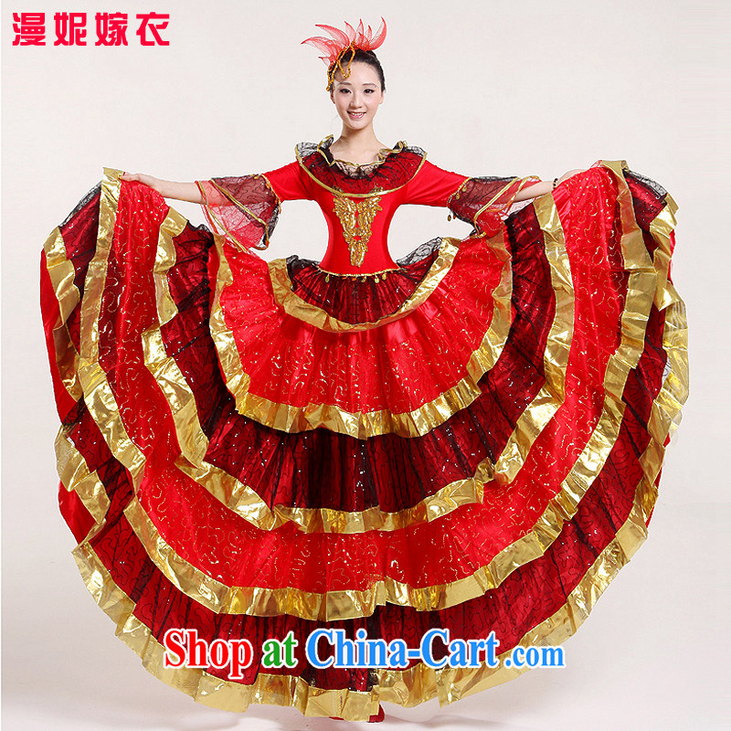 High quality classical dance Fashion Show Dance skirt swing dance clothing square dance skirt show clothing & Dance skirts clothing national bullfighting dance international dancers Spanish dance red XXL