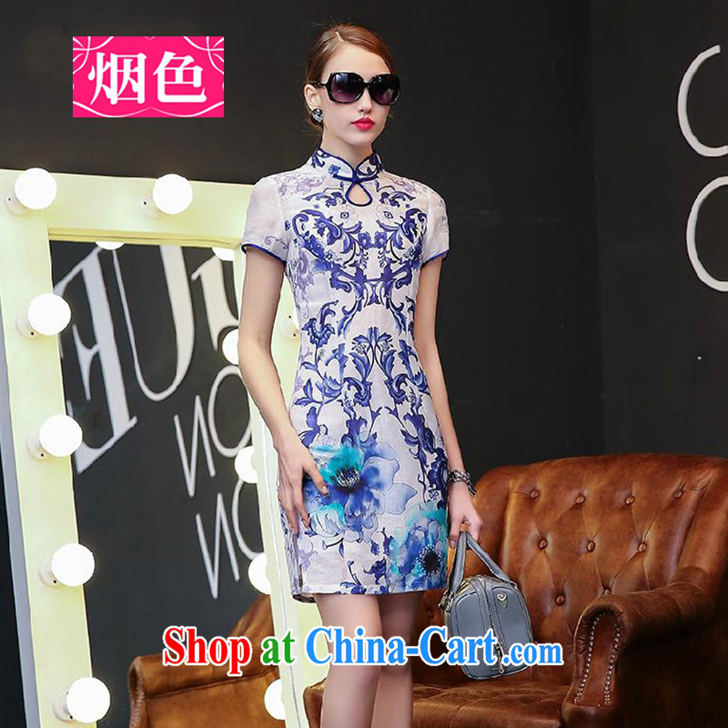 Smoke-colored 2015 spring and summer new Ethnic Wind stamp dresses female blue and white porcelain short-sleeved Silk Dresses beauty retro style dresses blue and white porcelain XL