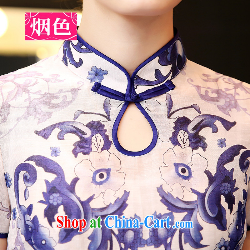 Smoke-colored 2015 spring and summer with new Ethnic Wind stamp dresses female blue and white porcelain short-sleeved Silk Dresses beauty retro style dresses blue and white porcelain XL, smoked, and shopping on the Internet