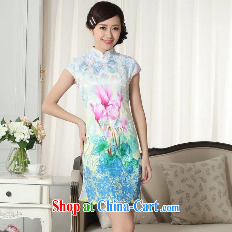 On Shanghai optimize purchase factory direct new summer elegance Chinese qipao Chinese graphics thin short cheongsam picture color 2 XL