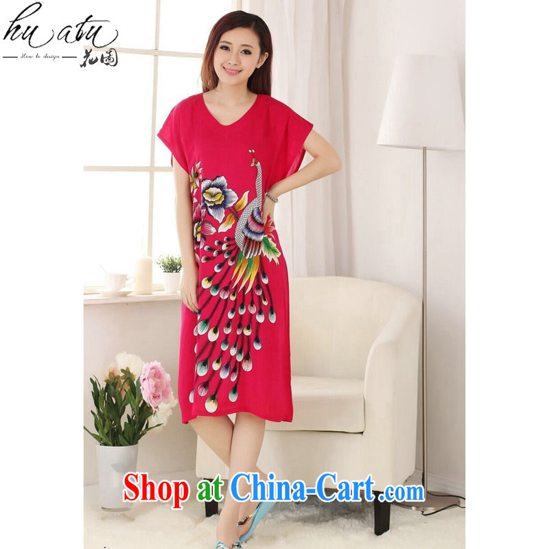 Take the female Chinese bathrobe summer new cotton V collar Peacock comfortable long, short-sleeved Chinese Dress gown of red are code