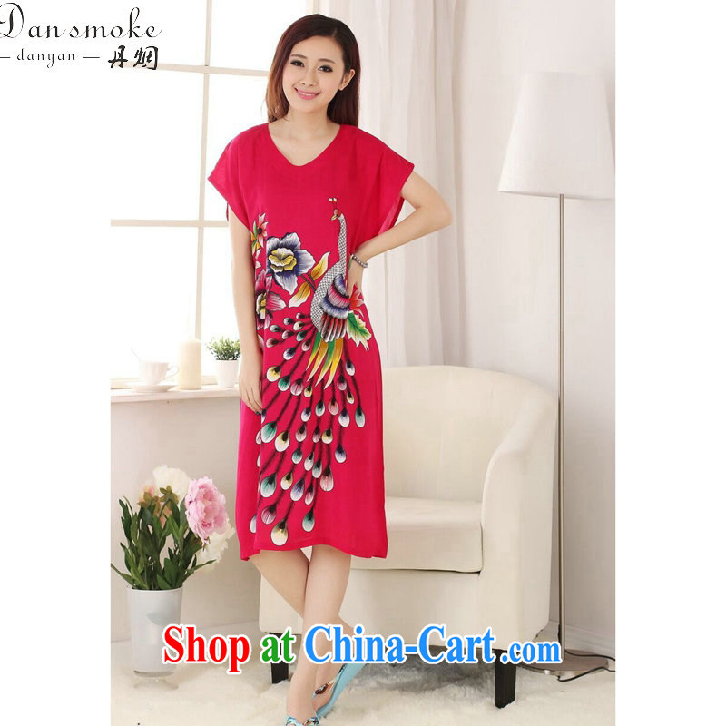 Dan smoke female Tang with bathrobe summer new Pure Cotton V collar Peacock comfortable long, short-sleeved Chinese Dress gown of red are code