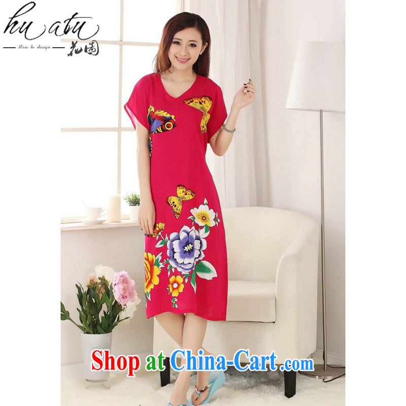 Take the female summer new Chinese Dress Chinese hand-painted female pajamas pure cotton long even short-sleeved robes of red, code