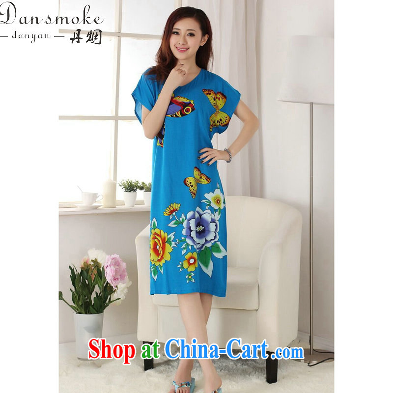 Bin Laden smoke female summer, new Chinese Dress Chinese hand-painted female pajamas pure cotton long, even short-sleeved robes - A blue are code
