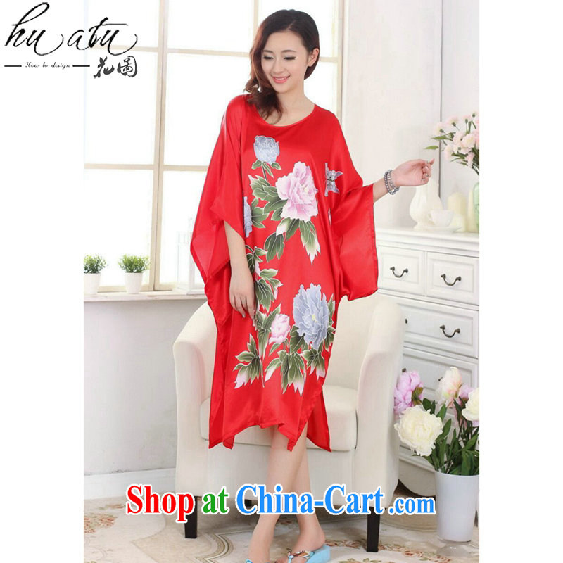 Take the Chinese pajamas ladies summer wear new round-collar hand-painted T-shirt silk loose bat shirts and elegant dress robes S 4017 are code